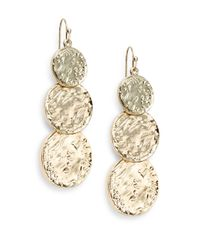 Cara | Metallic Triple-coin Drop Earrings | Lyst
