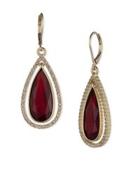 Anne Klein | Red Faux Gem And Pave Teardrop Earrings | Lyst