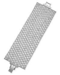 Lauren by Ralph Lauren - Metallic Silver-Tone Crystal Mesh Wide Bracelet - Lyst