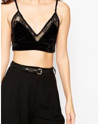 Oh My Love | Black Bralet With Lace Trim | Lyst
