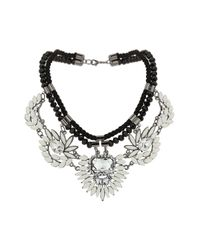TOPSHOP | Black Rope and White Stone Necklace | Lyst