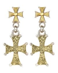 Konstantino | Metallic 2-Tone Hammered Cross Earrings | Lyst