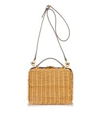 Mark Cross - Brown Grace Rattan And Leather Box Bag - Lyst
