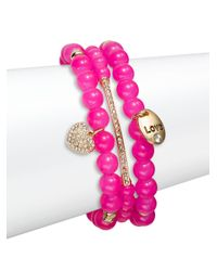 Saks Fifth Avenue | Pink Pave Heart Charm Beaded Bracelets/set Of 3 | Lyst
