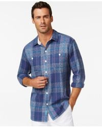 Tommy Bahama | Blue Beach Front Plaid Flannel Long-sleeve Shirt for Men | Lyst