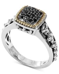 Effy Collection - Metallic Balissima By Effy Black Diamond Square Ring (1/6 Ct. T.w.) In 18k Gold And Sterling Silver - Lyst