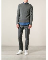 AMI - Gray Mock Neck Sweater for Men - Lyst