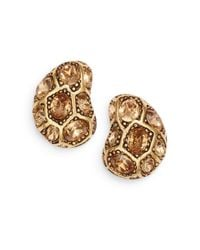 Oscar de la Renta - Metallic Crystal Clip-on Earrings - Lyst