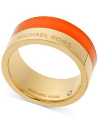 Michael Kors | Orange Gold-Tone Colorblocked Band Ring | Lyst