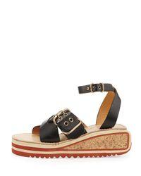 Isabel Marant - Black Zena Striped Wedge Sandals - Lyst