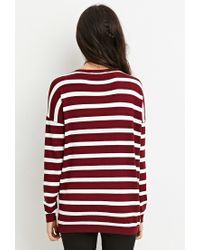 Forever 21 - Purple Striped Drop-sleeve Sweater - Lyst