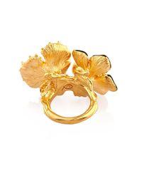 Alexander McQueen - Metallic Cherry Blossom Resin And Brass Ring - Lyst