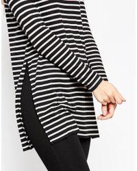 ASOS - Black Longline Top In Stripe With Side Splits And Long Sleeves - Lyst