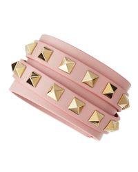 Valentino - Multistrand Leather Wrap Bracelet Bracelet Pink - Lyst