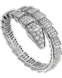 BVLGARI | Serpenti 18ct White-gold And Diamond Bracelet - For Women | Lyst