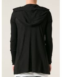 Rick Owens - Black Hooded Long Cardigan for Men - Lyst
