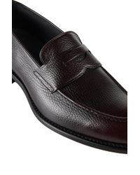 BOSS - Brown 'stannot' | Calfskin Grained Penny Loafers for Men - Lyst