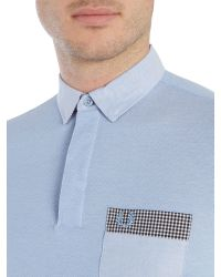 Fred Perry - Blue Woven Collar Trim Short Sleeve Pique Polo for Men - Lyst