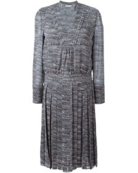 Tory Burch - Gray Marled Pleated Dress - Lyst