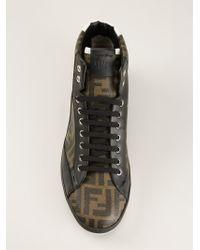Fendi - Black 'Wimbledon' Hi-Top Sneakers for Men - Lyst