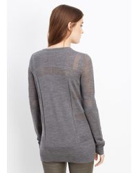 Vince - Gray Engineered Mesh Wool Crew Neck Sweater - Lyst