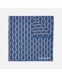 Turnbull & Asser - Floral Medal Tonal Blue Silk Pocket Square for Men - Lyst