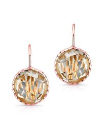 Anne Sisteron | Pink 14kt Rose Gold White Topaz Small Round Earrings | Lyst