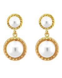 Lord & Taylor | Metallic Goldtone Pearl Double Drop Earrings | Lyst