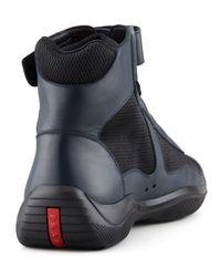 Prada - Blue Nevada Leather Hitop Sneaker for Men - Lyst