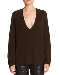 Helmut Lang | Green Cashwool V-neck Sweater | Lyst