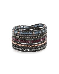 Chan Luu | Metallic Beaded Wrap Bracelet - Garnet Mix/gunmetal | Lyst