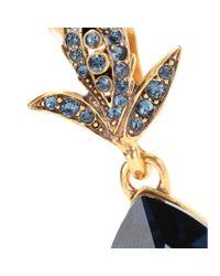 Oscar de la Renta - Blue Crystal Embellished Clip-On Earrings - Lyst