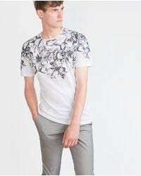 Zara | White Patterned T-shirt for Men | Lyst