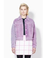 3.1 Phillip Lim - Purple Denim Style Shearling Jacket - Lyst