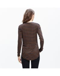 Madewell | Black Anthem Long-sleeve V-neck Tee In Stripe | Lyst