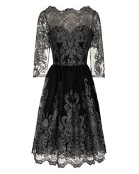 Chi Chi London | Metallic Lace Tea Dress | Lyst