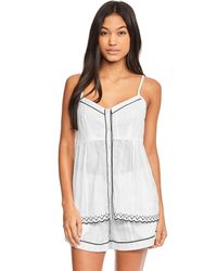 Figleaves - White Helena Contrast Piped Cotton Cami - Lyst