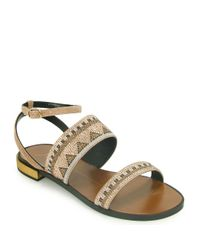 Lola Cruz - Metallic Beaded Sandal - Lyst