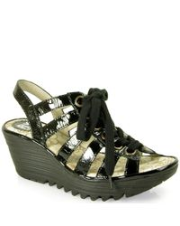 Fly London | Black Patent Leather Sandal | Lyst