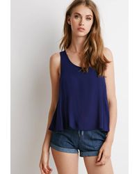 Forever 21 - Blue Scoop Neck Trapeze Top - Lyst
