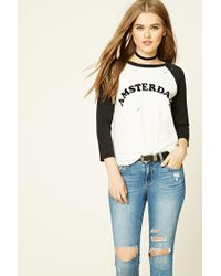 Forever 21 - Black Raw-cut Amsterdam Graphic Tee - Lyst