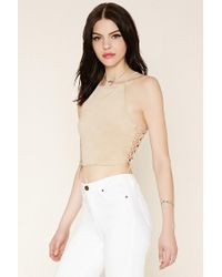 Forever 21 - Natural Lace-up Faux Suede Crop Top - Lyst