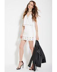 Forever 21 - White Contemporary Grommet-trimmed Skirt - Lyst