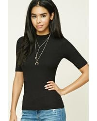 Forever 21 | Black Ribbed High Neck Top | Lyst