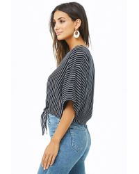 Forever 21 - Blue Tie-front Striped Shirt - Lyst