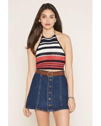 Forever 21 - Blue Striped Knit Crop Top - Lyst