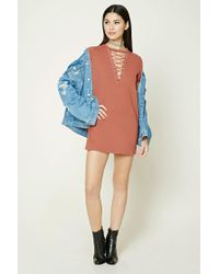 Forever 21 - Multicolor Crisscross Lace-up Dress - Lyst