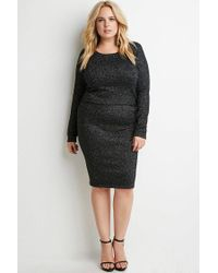 Forever 21 - Black Metallic Ribbed Knit Skirt - Lyst