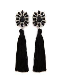 Forever 21 - Black Faux Gem Rhinestone Tassel Drop Earrings - Lyst