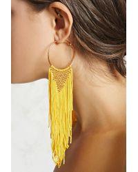 Forever 21 - Yellow Woven Fringe Hoop Earrings - Lyst
